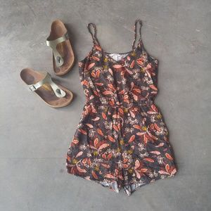 H&M Black and Orange Print Romper